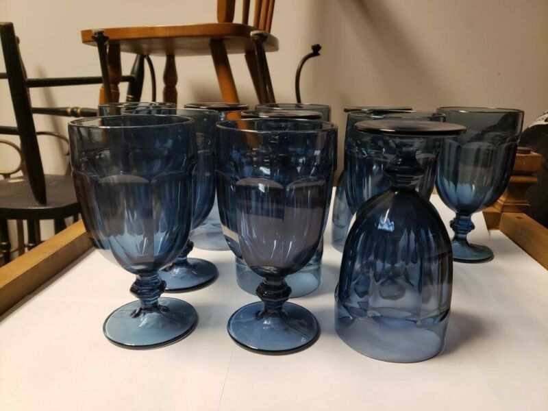 "Set Of 11Libbey Duratuff Gibraltar Dusky Blue 7"" Footed Iced Tea Goblets Glasses"