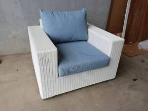 Savana Armchair in White UV Rattan and Sunproof Blue Cushions Loganholme Logan Area Preview