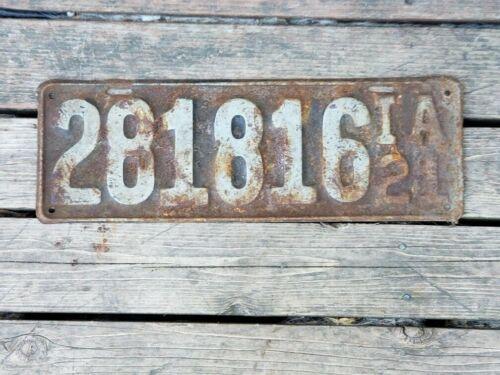 Vintage 1921 Iowa License Plate #281816