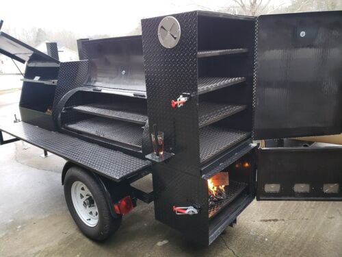 Pre Seasoned Oil BBQ Smoker 30 Grill Catering Business Mobile Kitchen Food Truck