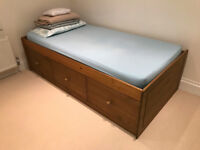Single bunk bed. 3 drawers for lots of storage. Mattress included 200 x 100 x 55 cm (LxWxH)