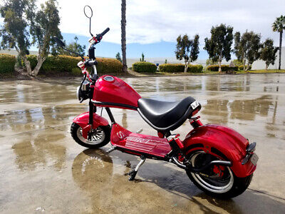 2000W 60V 20A Fat Tire Harley Chopper Style Electric Bike Scooter Motorcycle RED Harley Style Scooter