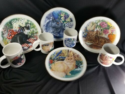 4 Cat Plates, Matched Mugs:Tan Persian/British Blue/Brown Tabby/Tuxedo, New/Mint