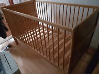 Solid Pine Cot Bed with adjustable three height mattress base £60