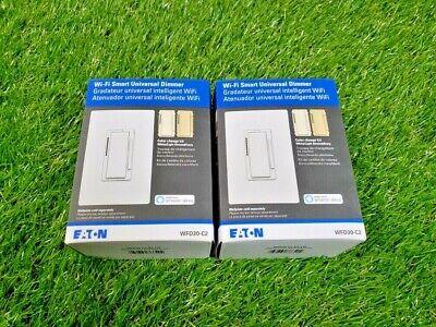 **NEW** 2 Eaton Wi-Fi Smart Universal Dimmer Works w/ Alexa - WFD30-C2-BX-LW