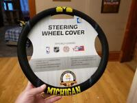 Brand New NCAA Michigan Wolverines Black Mesh Extra Grip Steering Wheel Cover