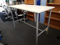 Office Stand Height Tall Table White Finish Office Home Bench New Ex-Display Exhibition