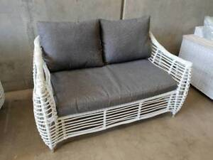 Barbados 2 Seater in Arctic White Wicker and Grey Olefin Cushions Loganholme Logan Area Preview