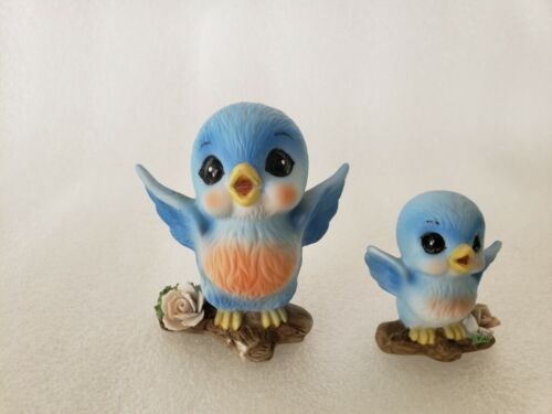 Vintage Mom & baby Bluebirds With Rose - Figurine Made in Taiwan