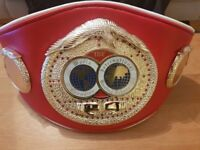 IBF World Champion Boxing Belt. Exact Scale Replica, Real Leather, Rare - Only 1 left!
