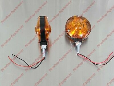Amber Safety Warning Light Pair For Tractor Metal Body Plastic Lens Heavy Duty