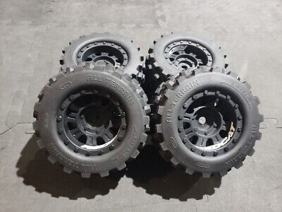 New set of 4 Redcat Kaiju wheels and tires 17mm hex 1/8 monster truck badlands