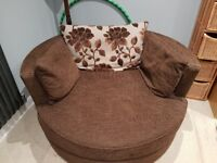 Large swivel cuddle/snuggle chair from DFS - chocolate brown - lovely condition