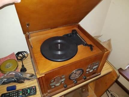Retro Vinyl Record Player and Radio