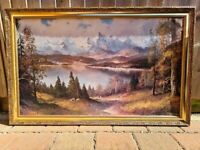 Large Picture Painting Print with Gold Frame Scenery 108.5cm x 68.5cm x 3cm deep