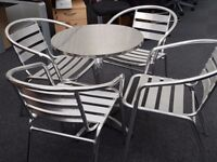 Café Canteen Bistro Visitor Stacking Silver Aluminium Patio Chairs x 4 & Table