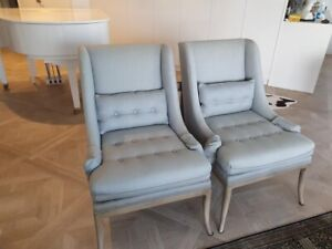 2 elegant blue grey chairs with wooden base