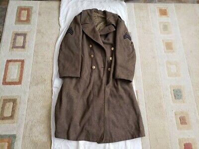 EARLY WW2 US Trench Coat Jacket Uniform Sergeant Named WWII Army 1940 Wool Heavy