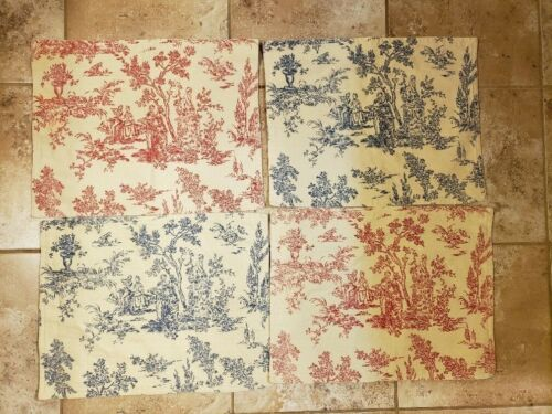 4 French Toile Placemats Blue Red Victorian Country Scene Reversible