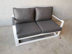 CORFU 2 SEATER IN WHITE WITH CHARCOAL OLEFIN CUSHIONS Loganholme Logan Area Preview