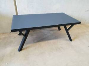 Morocco Coffee Table in Black Aluminium Frame with Matte Glass Loganholme Logan Area Preview