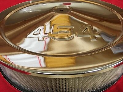 "Chrome Steel 14"" x 3"" Air Cleaner 454 CID Logo Mopar Chevy Stroker 4 barrel Carb"