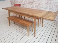 Modern Extending Mid-Century Living Hardwood Dining Table with Drawer - Space Saving
