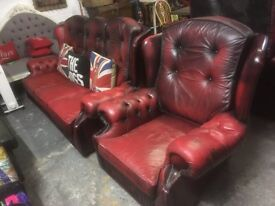 Chesterfield 3 Seater Sofa & Matching Chair Oxblood Red Leather - UK Delivery