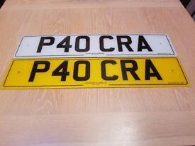 PERSONAL NUMBER PLATES P40 CRA (CRAP)