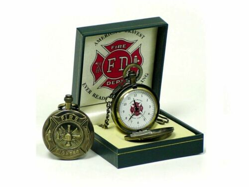 """US Fire Department Maltese Cross Pocket Watch """"Americas Bravest Ever Ready"""" NEW"""