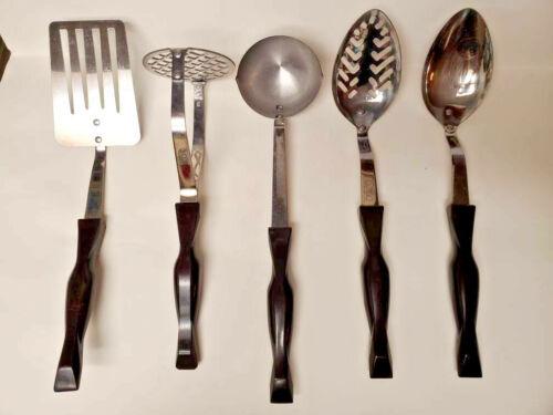 Cutco 5 Piece Kitchen Utensil Set Spatula Ladle Slotted Spoon Masher Spoon