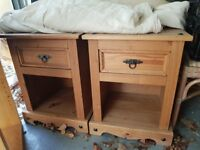 Two bed side tables and matching chest of drawers