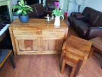 Hardwood sideboard, side table, nest of tables and TV unit