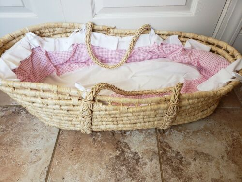 Moses Basket Bassinet Natural Reed, Handles, Mattress, Pink Gingham Bedding FS