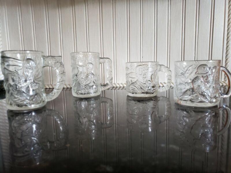 4 McDonalds BATMAN FOREVER Glass Mug Cups 1995