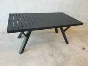 Morocco Coffee Table in Black Aluminium Frame with Aluminium Top Loganholme Logan Area Preview