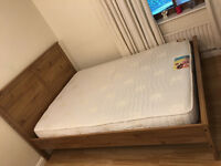 60% OFF ! Ikea Oak Double Bed, Free Delivery, & Luxury Vogue £600 Memory Mattress
