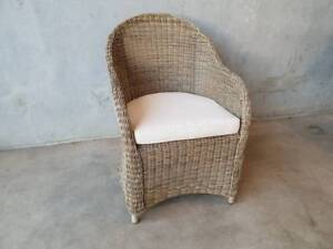 Hamilton Dining Chairs Loom Wicker with Seashell SpunPoly Fabric Loganholme Logan Area Preview