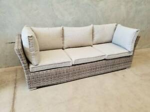 Havana 3 Seater in Mocha Weave with Latte Spun Poly Cushions Loganholme Logan Area Preview
