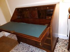 1940's style Walnut Bureau with locking fold-down writing table and drawers
