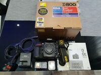 Nikon D800 with all accessories and memory cards, Lowepro bag, Giottos tripod. Delivery available
