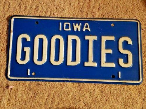 "Vintage Iowa license Plate ""GOODIES"""