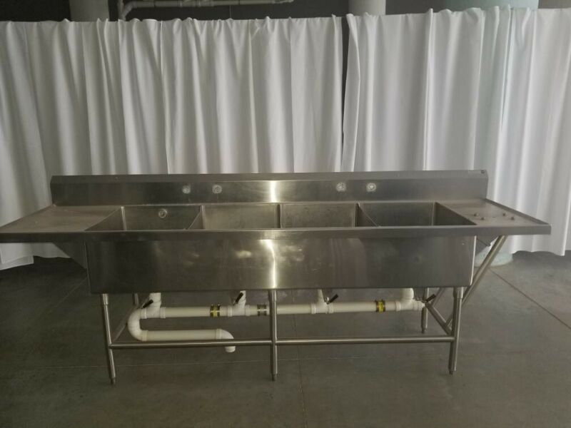 "112"" Heavy Duty 4 Compartment Stainless Sink with 2 Drain Boards 112""x30""x36"""