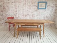 Mid-Century Extending Modern Living Hardwood Dining Table with Drawer - Space Saving