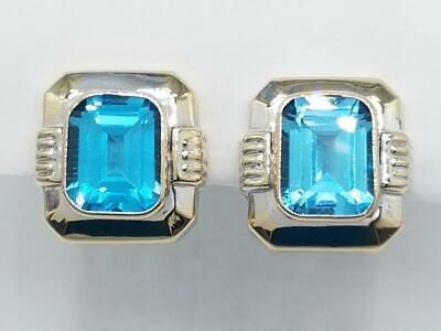 14K White Gold Swiss Blue Topaz Gemstone Omega Backed Earrings (AP1068722)