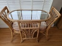 Table & chairs x2, 3 x shelves, Table (Wicker)