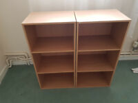 2X of 3 shelf bookcase - Oak colour.