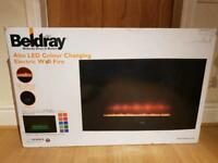 2kw Colour Changing Wall Hung Electric Fire with remote