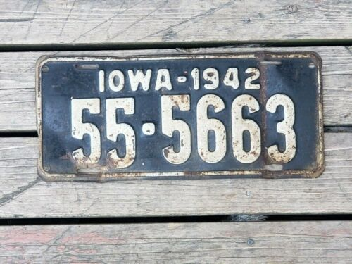1942 Iowa License Plate KOSSUTH COUNTY 55-5663