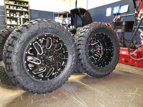 "20"" Fuel Triton Dually D581 Black Wheels 35"" Tires 8x165.1 Dodge Ram Dually 3500"